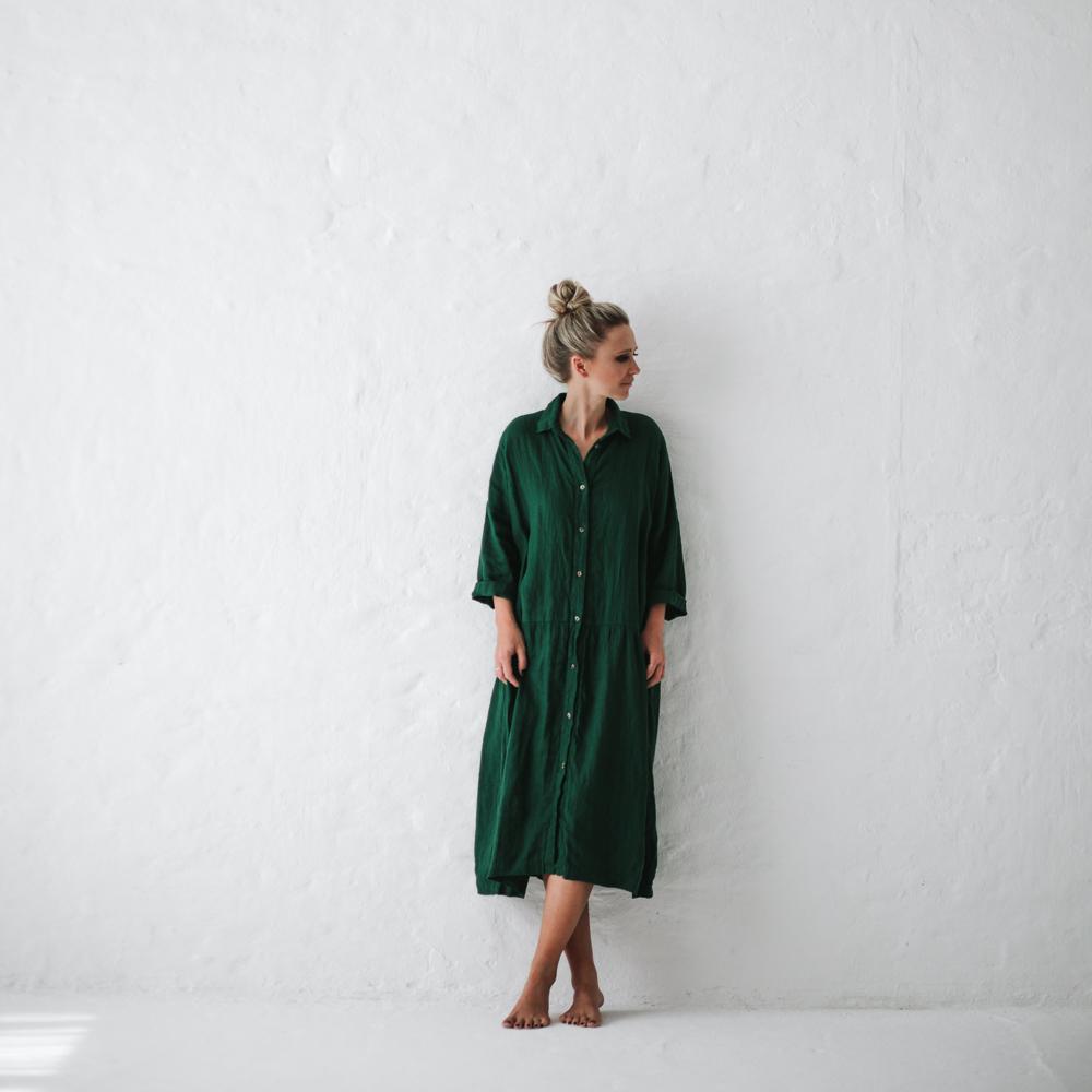 694683899e Green Oversized Linen Dress